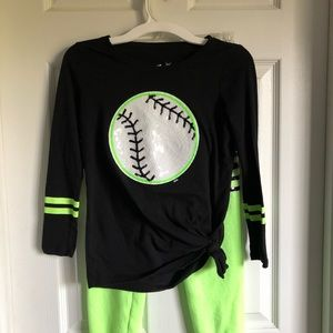 Justice two piece softball outfit